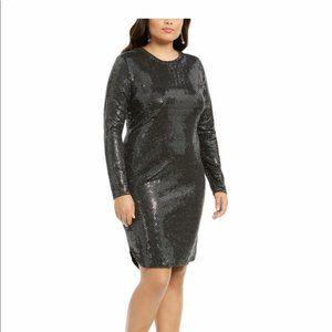 B Darlin Dress Black Silver Disco Dot Stretch NEW